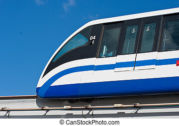 Monorail train - Modern monorail fast train on railway,...