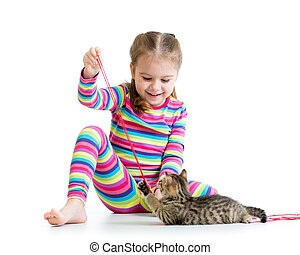 child playing with kittens isolated on white background