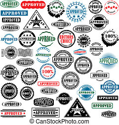 Approved rubber stamps collection - Collection of rubber...