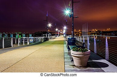 Pier at night, in National Harbor, Maryland. - Pier at...