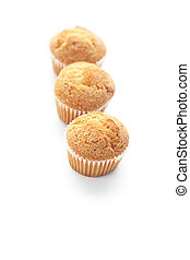 three muffins isolated on white