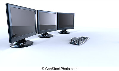 three lcd screens with keyboard and mouse on white...