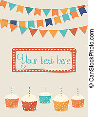 Vector birthday card with flags