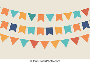 Vector party flags in vintage colors