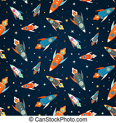 Seamless vector pattern of colorful rockets in outer space...