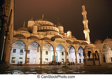Mosque at night - Blue mosque in Istanbulat night, Turkey...