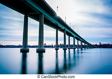 The Naval Academy Bridge, over the Severn River in...