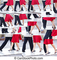 collage of a couple dancing the tango in the streets of...