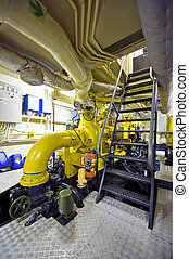 Tugboat\'s engine room - The engine room of a tugboat with...