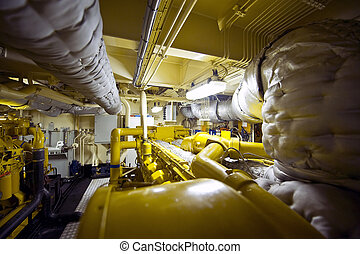 Tugboat Engine Room - The engine room of a tugboat with...