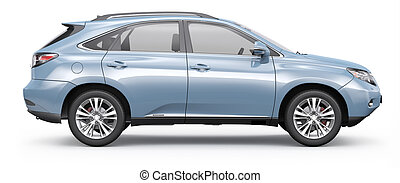 Blue SUV CAR side view - SUV CAR on white background
