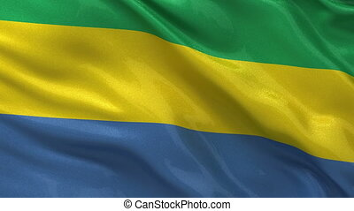 Flag of Gabon - seamless loop - Flag of Gabon gently waving...