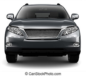 BLACK LUXURY SUV - front view - LUXURY SUV on a white...