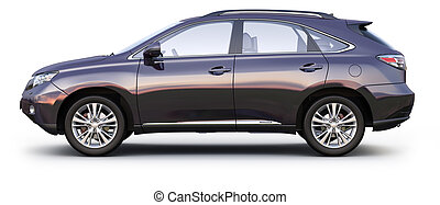 Black SUV CAR side view - Black SUV CAR on white background