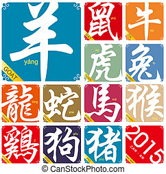 year of the Goat in 2015 - Chinese zodiac signs with the...