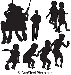 Childrens Silhouettes - Black Illustrations, Vector