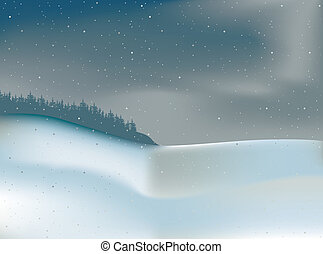 Winter Landscape And Forest - Colored Illustration, Vector