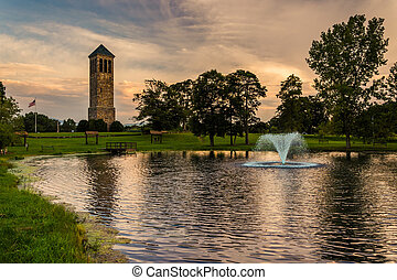 The singing tower and a pond in Carillon Park, Luray,...