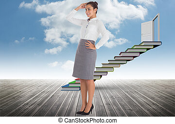 Composite image of smiling thoughtful businesswoman -...