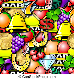 Repeating Fruit Machine Background - Fruit machine symbols....