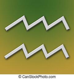 Símbolo, Aquário, alumínio
