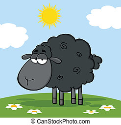 Cute Black Sheep On A Meadow Cartoon Character