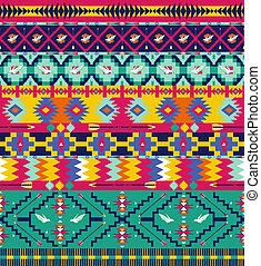 Seamless, colorido, azteca, patrón, Aves, flecha