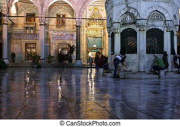 Night and light in mosque, Istanbul