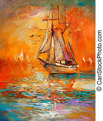 Ship in ocean - Original oil painting of sail ship and sea...
