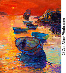 Boats and cliffs - Original oil painting of boats and cliffs...