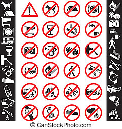 icons safety - range of prohibition signs Labeling