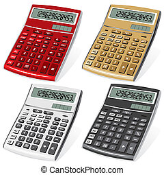 calculator - set vector image colored calculators