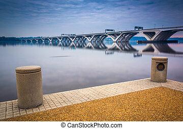a, Woodrow, Wilson, ponte, visto, Potomac, Rio, waterfron