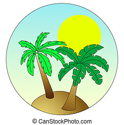 Palm Island on sky blue background with sun