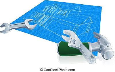 House blueprint construction concept