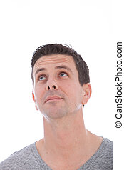 Middle-aged Caucasian blue eyed man looking up - Vertical...