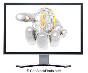 monitor with coins isolated on white background