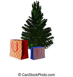 bare Christmas tree ready to decorate with gifts box