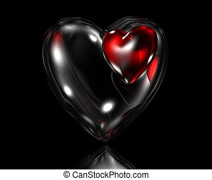 double red and black glass love heart on black background