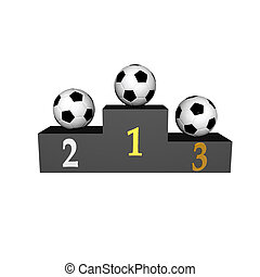 podium with soccer balls isolated on a white