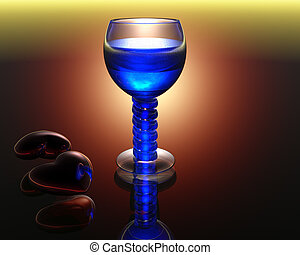 wine glass in 3D with reflection