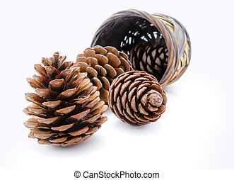 Group of pine cones and wicker basket isolated