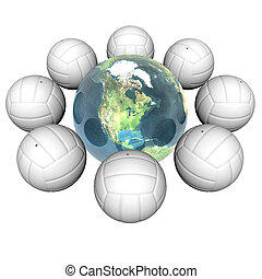 3d volley balls with earth isolated on a white background