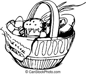 Easter basket and eggs and cake