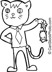 cartoon business cat with dead mouse