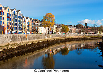 Cork city, Ireland - St Patrick's Quay on the north channel...