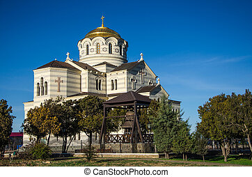 Orthodox temple against blue sky