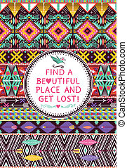 Hipster seamless tribal pattern with geometric elements and...