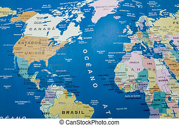 geographic map - geographical map of america and europe