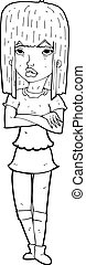 cartoon girl with crossed arms